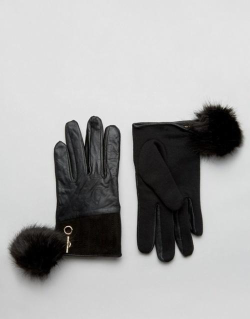 River Island gants noir à pompons