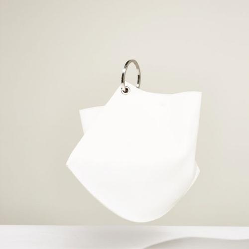 Zara  cabas blanc anse rond metal
