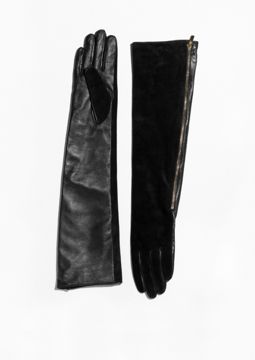 & Other Stories gants long suede cuir