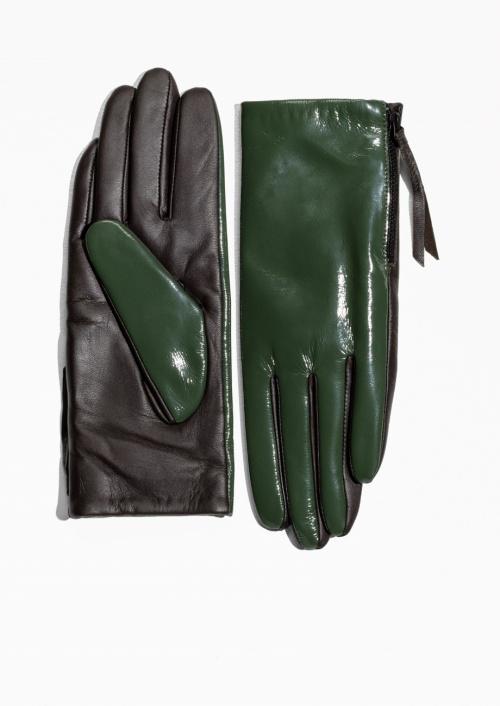 & Other Stories gants bicolor vert et noir
