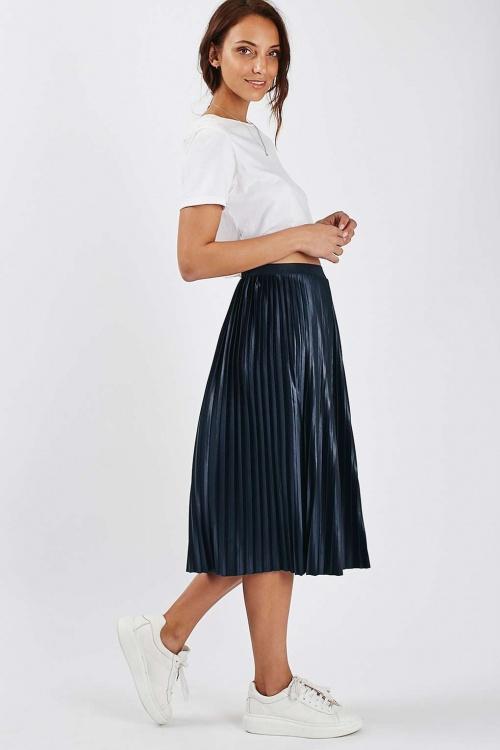Topshop jupe plissée bleu marine métallisé