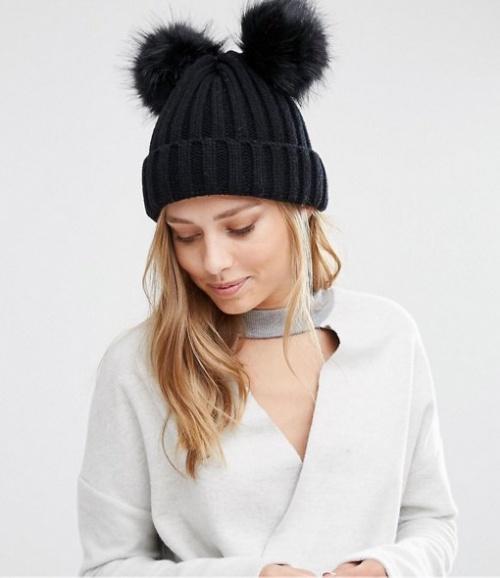 My Accessories bonnet double pompons noir