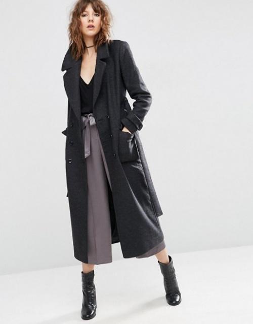 Asos manteau long gris anthracite ceinture