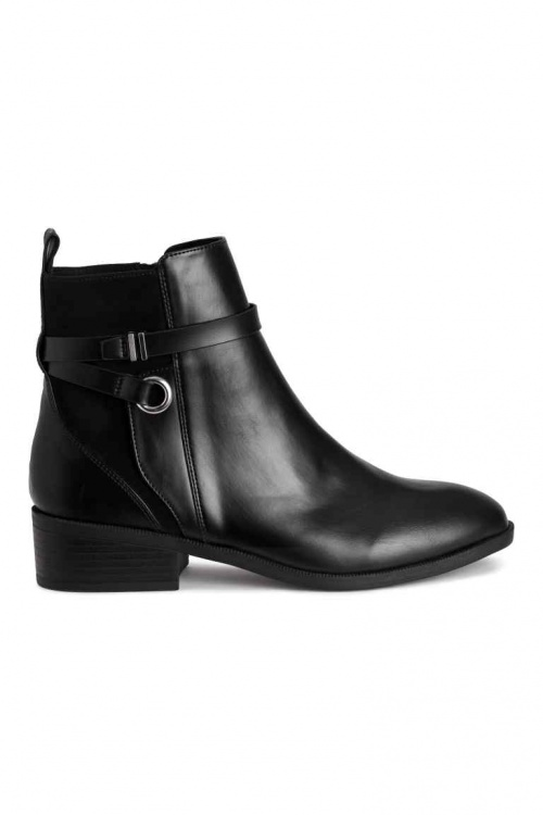 H&M bottines noir à boucles