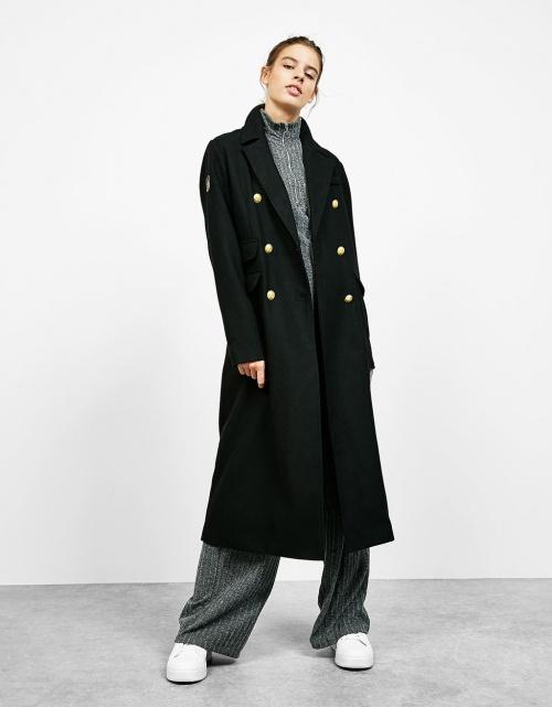 Bershka manteau long laine capitaine