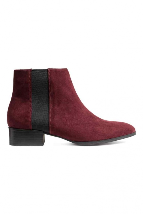 H&M bottines bordeaux plates