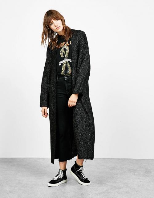 Bershka  manteau long maille