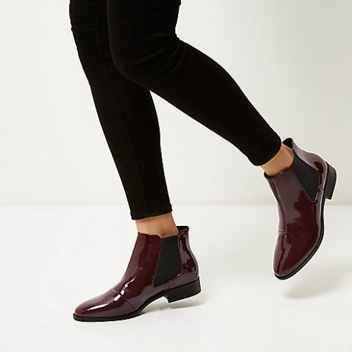 River Island  bottines bordeaux vernies