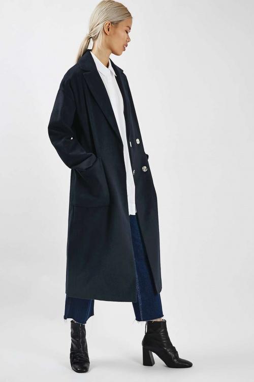 Topshop manteaux long bleu marine