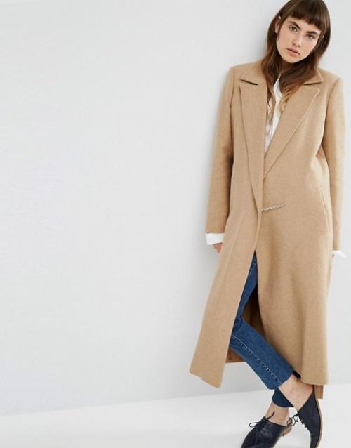 Asos manteau long beige avec chaine