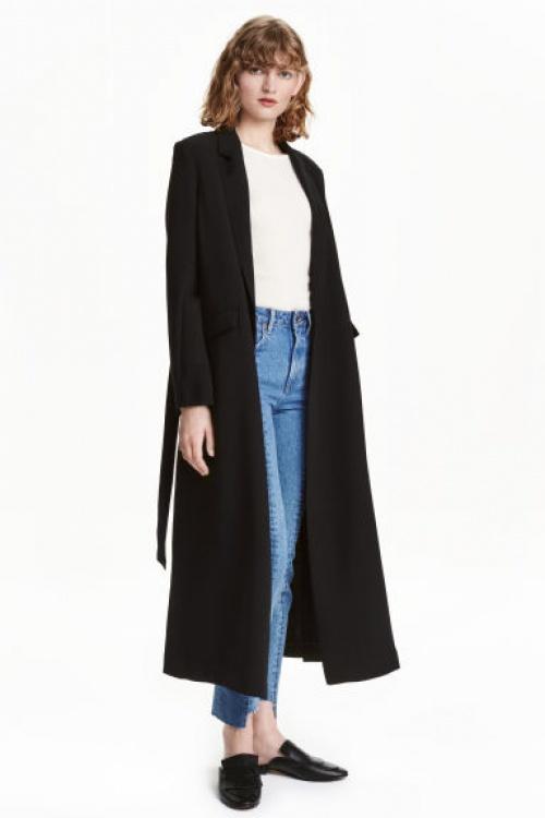 H&M manteau long noir ceinture