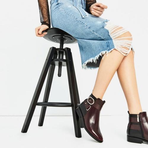 Zara bottines bordeaux et noires