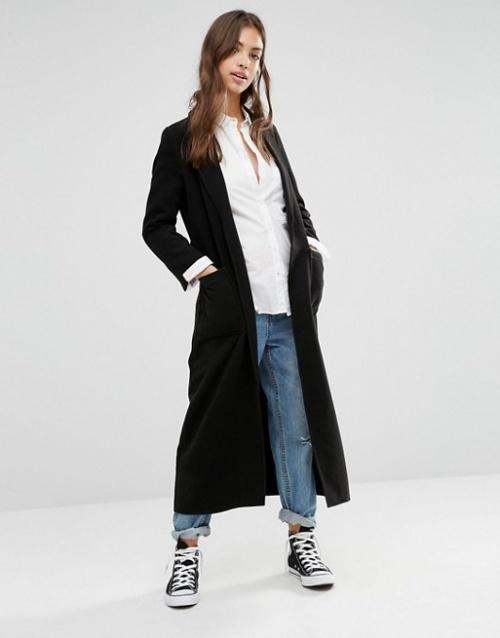 Boohoo manteau long à ceinture noir