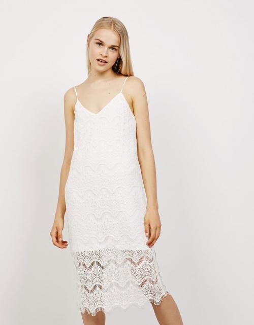 Bershka robe débardeur dentelle blanche