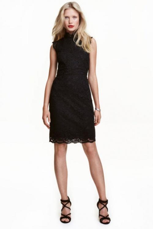 H&M robe droite dentelle noire