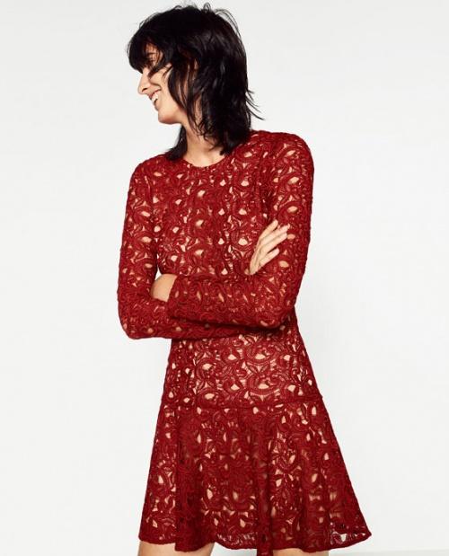 Zara robe rouge dentelle