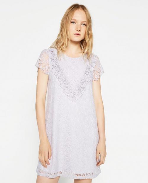 Zara robe dentelle droite bleue ciel