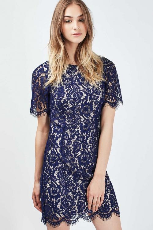 Topshop robe dentelle droite bleue