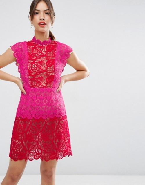 Asos robe dentelle colorée