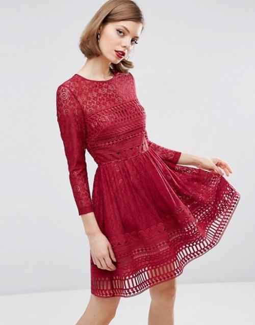 Asos robe rouge dentelle