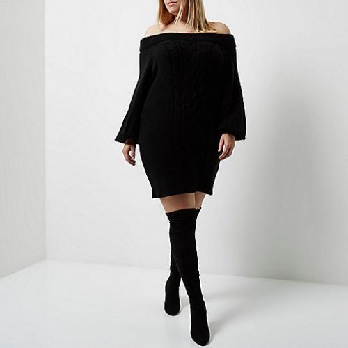 River Island robe pull noir col bardot