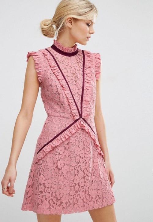 Asos robe dentelle rose
