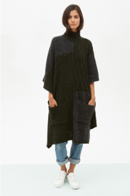 Décalage - Poncho kaki et grise laine