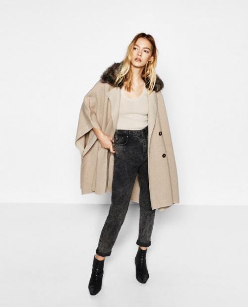 Zara manteau poncho beige à col fourrure