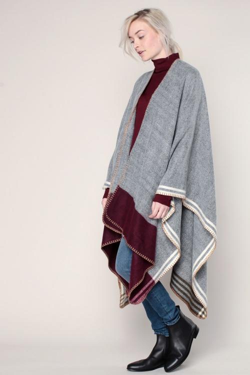Glamorous cape laine carreaux colorés