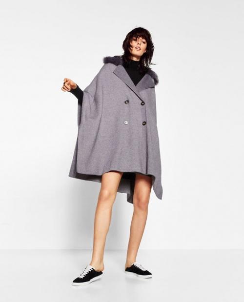Zara manteau poncho gris à col fourrure