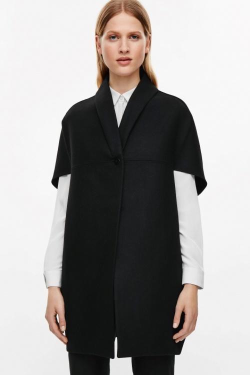 Cos  cape laine noire manches courtes