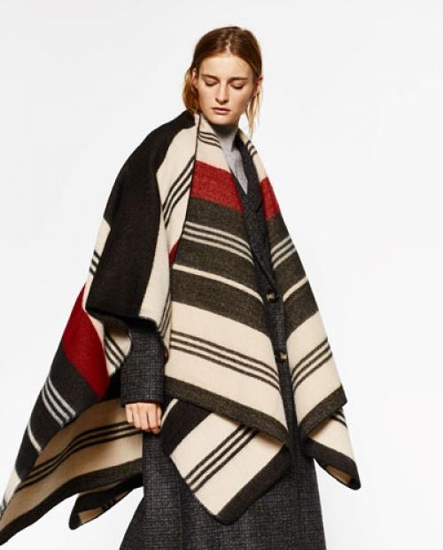 Zara poncho rayures laine