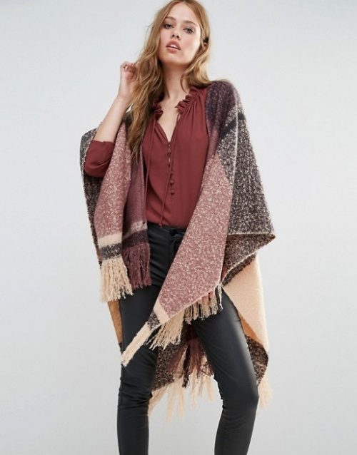 Y.A.S cape en laine multicolor