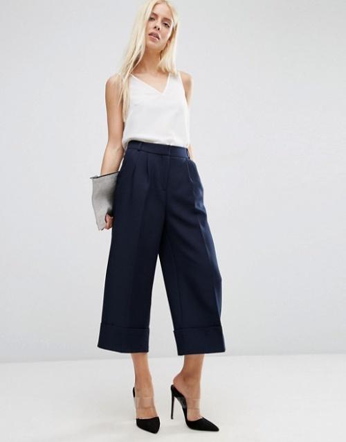 Asos jupe culotte satin bleue