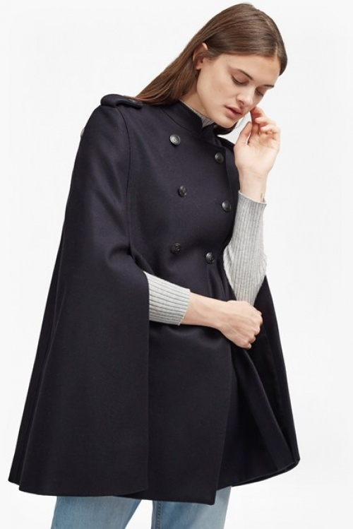 French Connection manteau poncho bleu marine double boutonnage