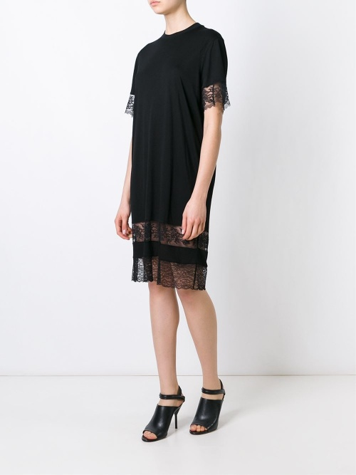 Givenchy robe t-shirt noire dentelle ourlet
