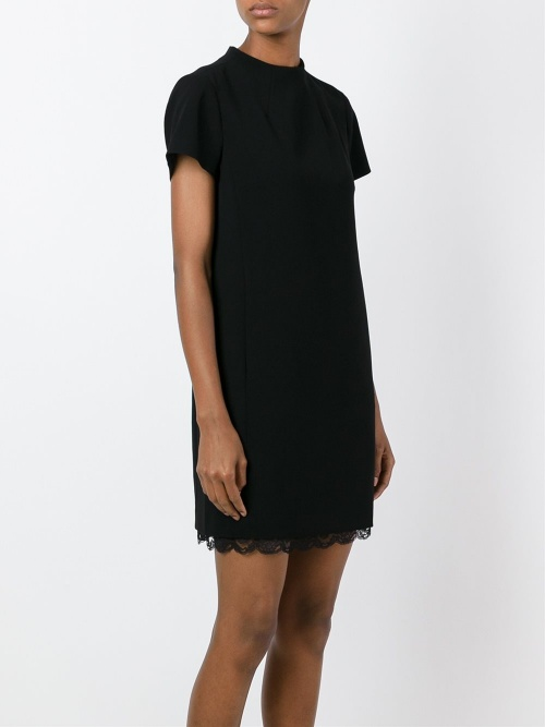Theory  robe t-shirt noire dentelle ourlet