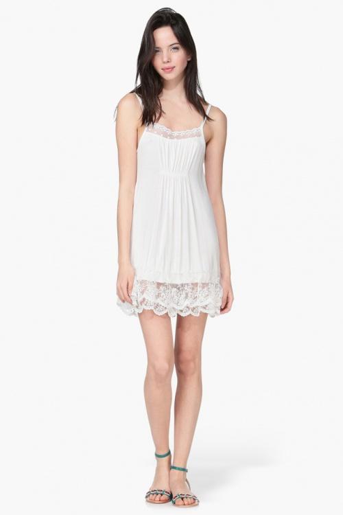 Molly Brackens robe nuisette blanche à ourlet dentelle