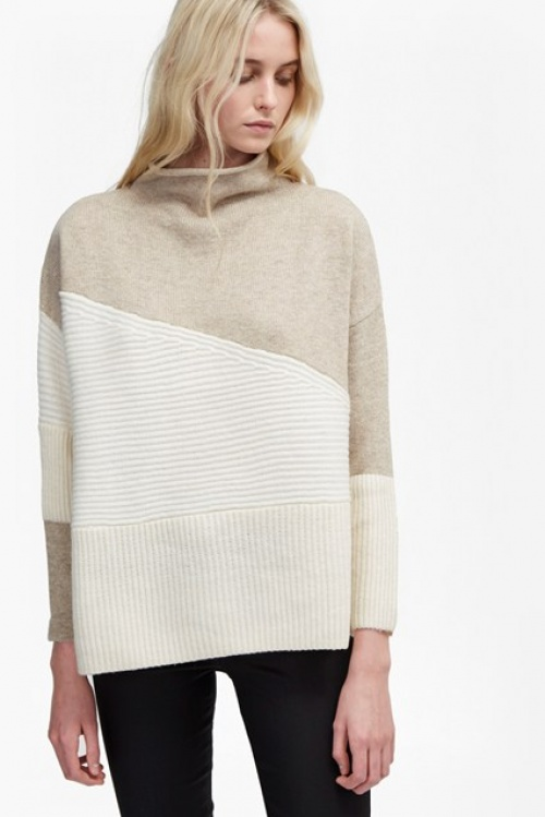 French Connection pull oversize blanc et beige