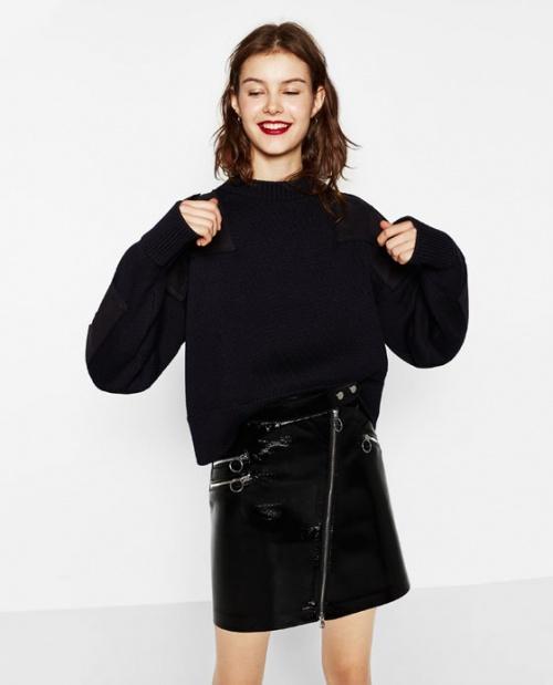 Zara jupe cuir vinyle