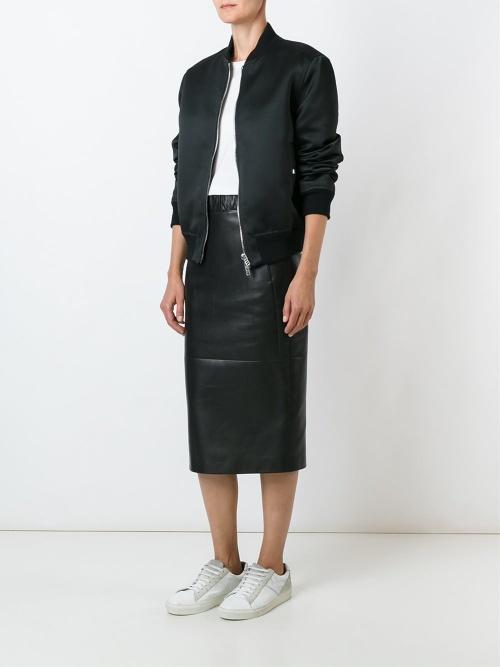 Neil Barrett jupe longue midi cuir noir