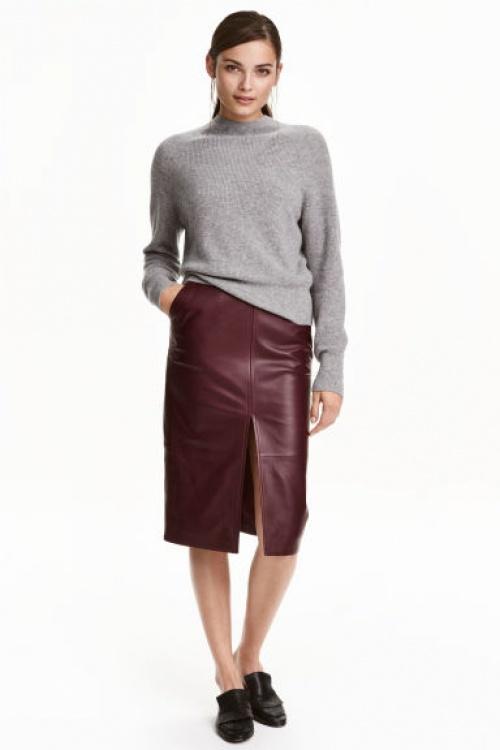 H&M jupe midi cuir bordeaux