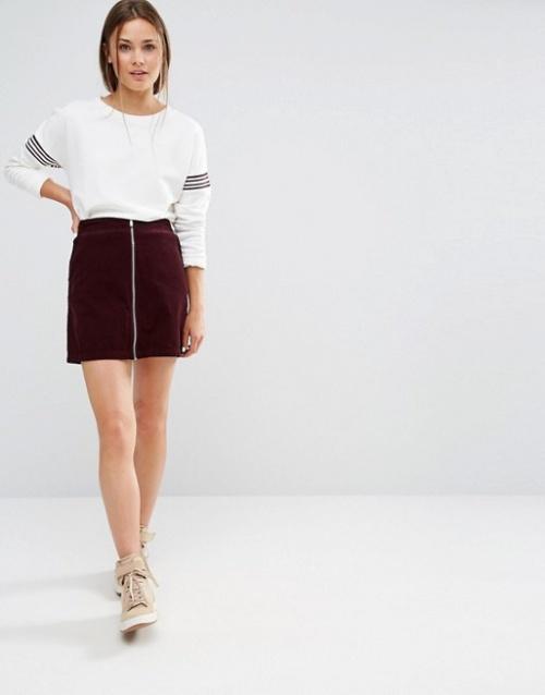 New Look mini jupe zippée bordeaux