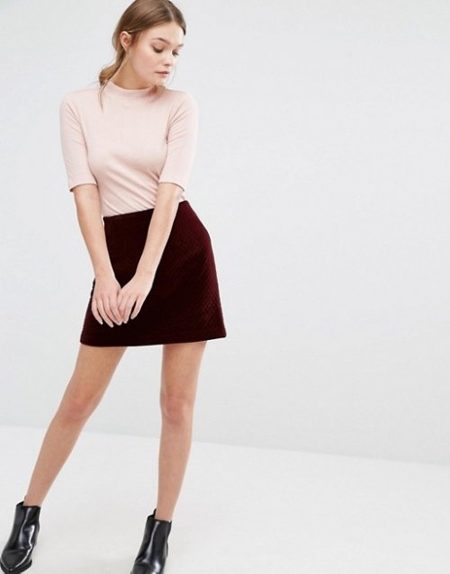 New Look mini jupe bordeaux effet velours
