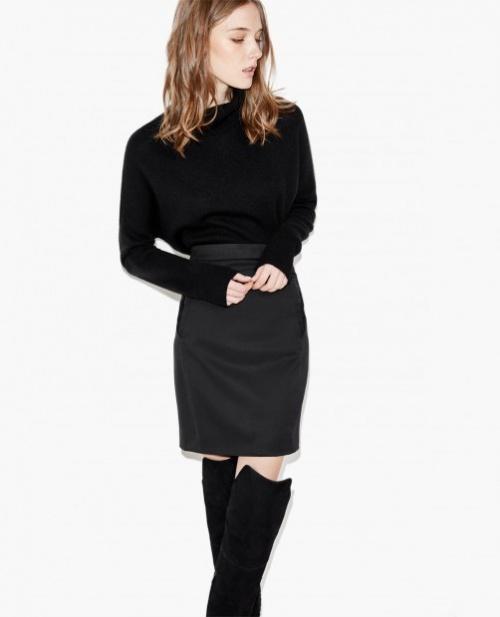 The Kooples jupe fourreay longueur genou noire