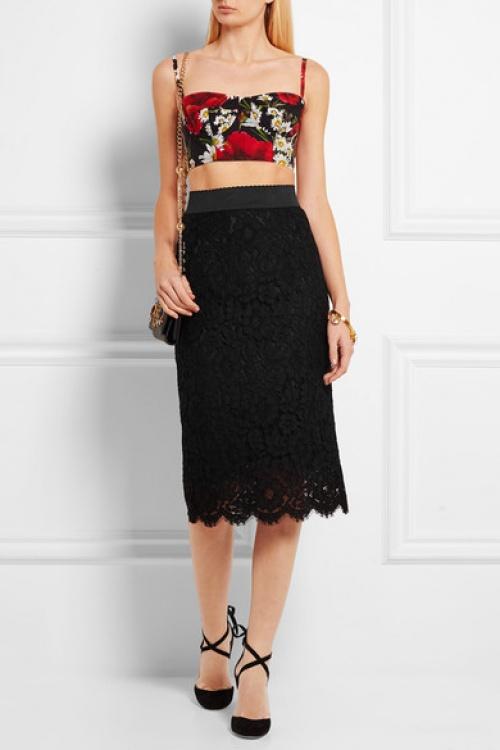 Dolce & Gabbana jupe mi-longue dentelle noire