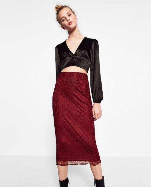 Zara jupe mi longue bordeaux