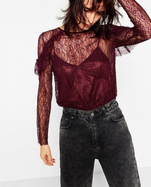Zara top transparent bordeaux