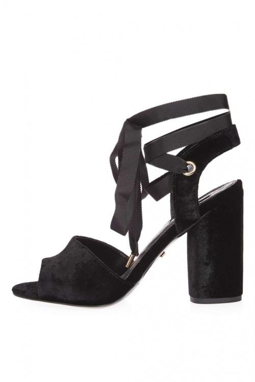 Topshop - Sandales noires velours