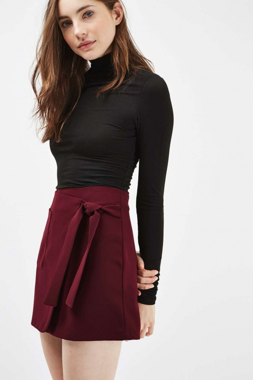 Topshop mini jupe noeud bordeaux